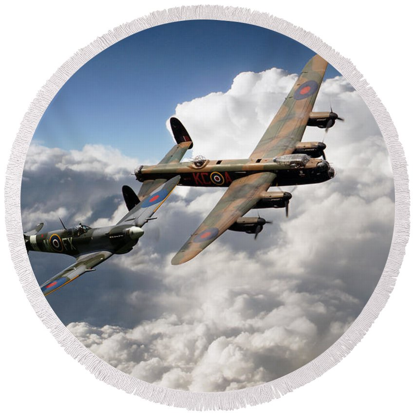 Supermarine Spitfire Round Beach Towel featuring the digital art Lancaster And Spitfire by J Biggadike