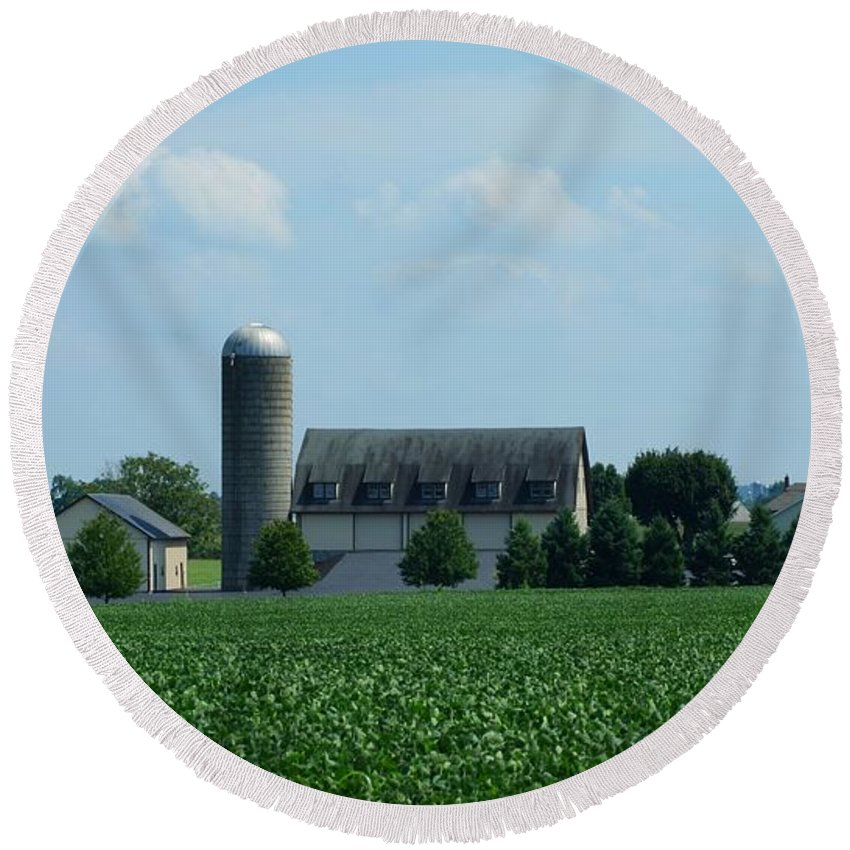 Barn Round Beach Towel featuring the photograph Lancaster Co Farm  # by Rob Luzier