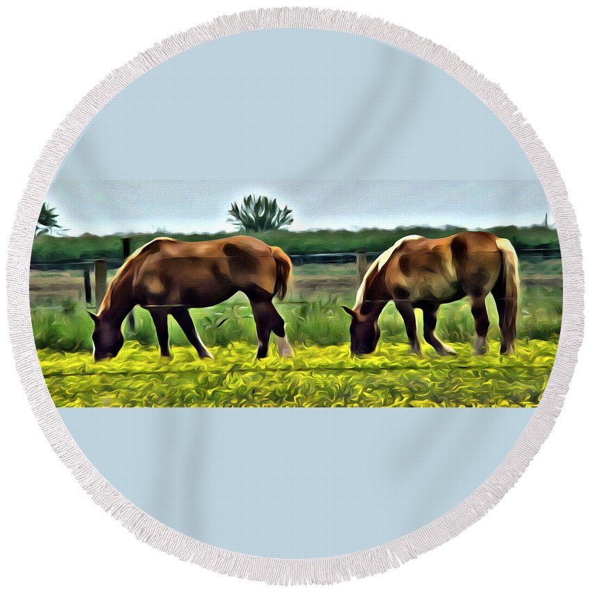 Horses Draft Meadow Yellow Flowers Round Beach Towel featuring the photograph Lancaster Drafts by Alice Gipson