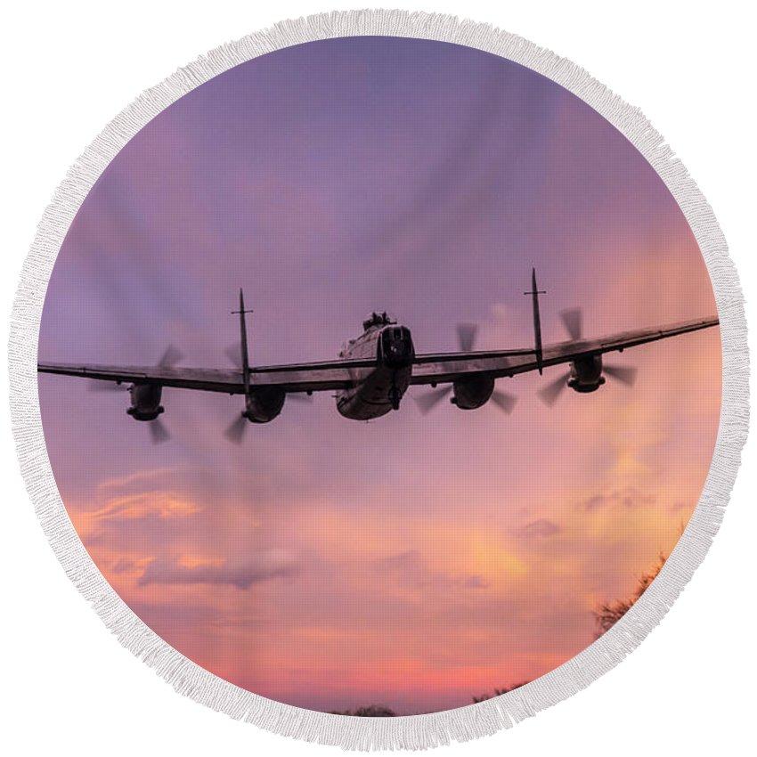 Avro Lancaster Bbmf Round Beach Towel featuring the digital art Lancaster Sunset by J Biggadike
