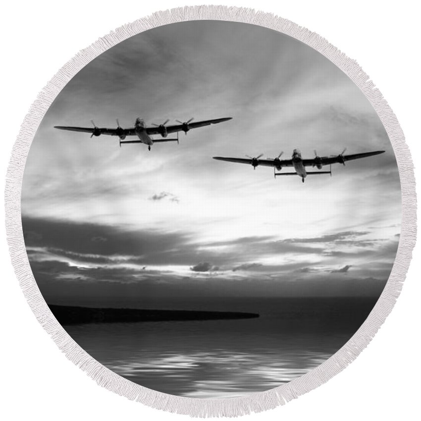 Avro Round Beach Towel featuring the digital art Lancasters Return Mono Version by J Biggadike