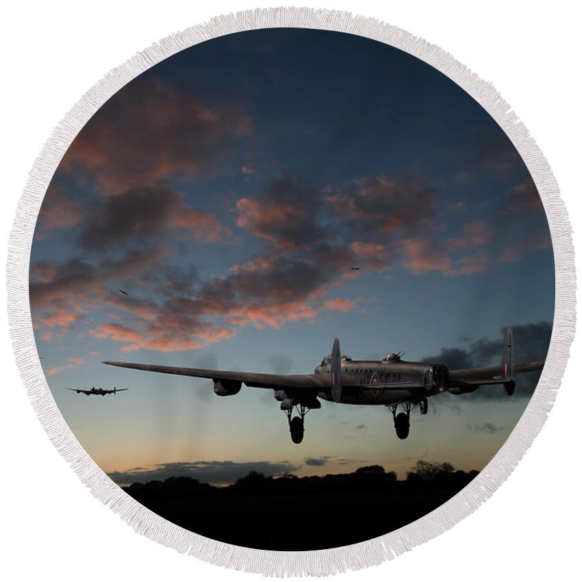 Lancaster Bombers Round Beach Towel featuring the photograph Lancasters Taking Off At Sunset by Gary Eason