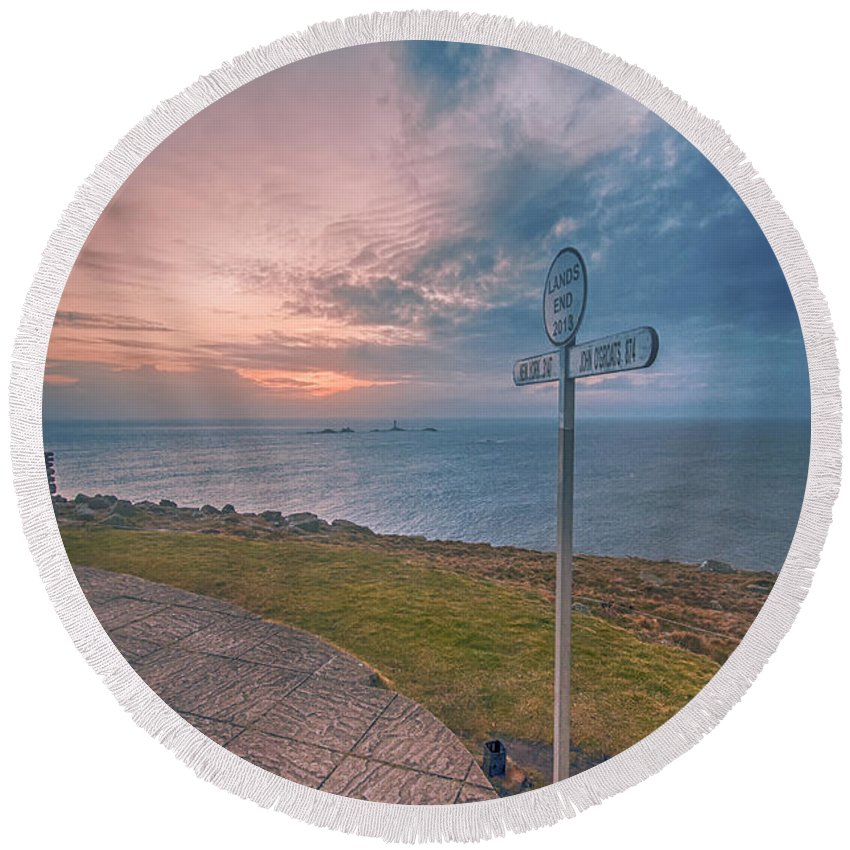 Lands End Round Beach Towel featuring the photograph Lands End Cornwall by Chris Thaxter