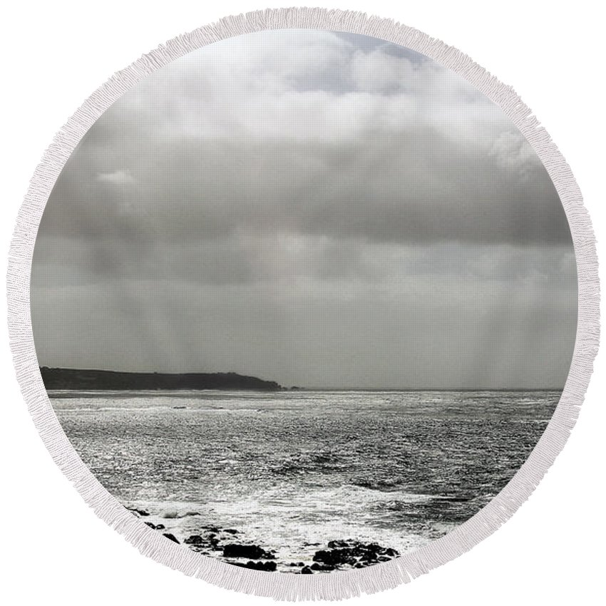Lands End Round Beach Towel featuring the photograph Lands End by Linsey Williams