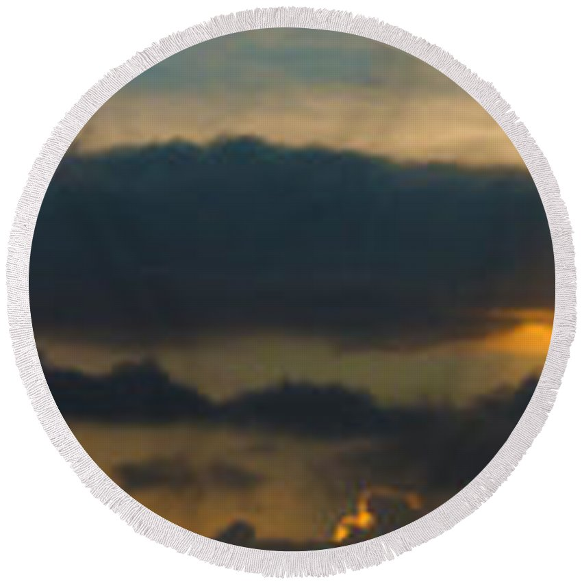 Sky Round Beach Towel featuring the photograph Landscape 2 Of 3 by Agustin Uzarraga