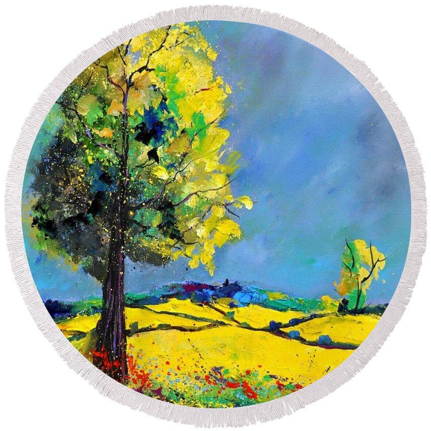 Landscape Round Beach Towel featuring the painting Landscape 563160 by Pol Ledent