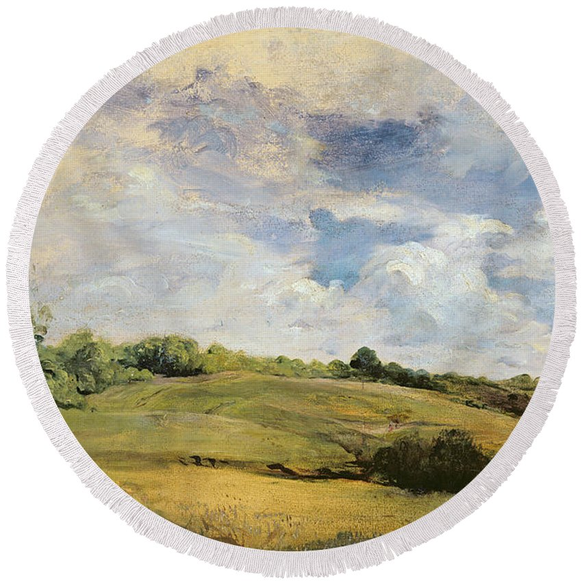 Landscape Round Beach Towel featuring the painting Landscape And Clouds by Louis Antoine Leon Riesener