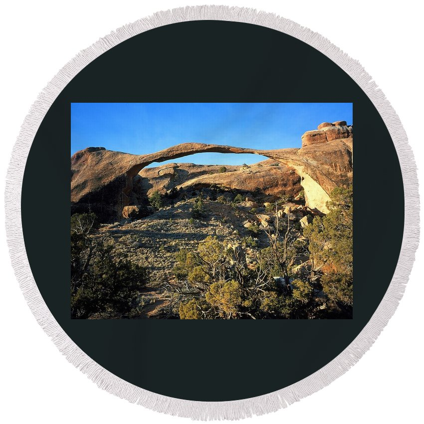 Photography Round Beach Towel featuring the digital art Landscape Arch by National Park Service