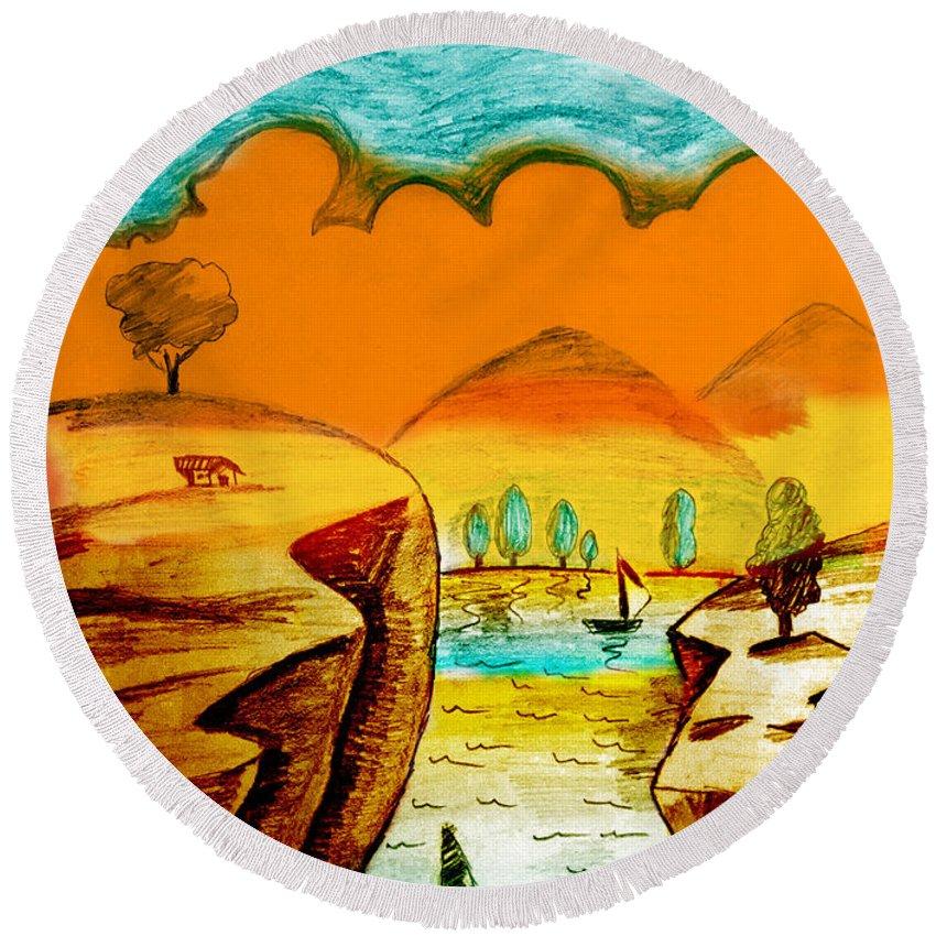 Landscape Round Beach Towel featuring the digital art Landscape by Famenxt DB
