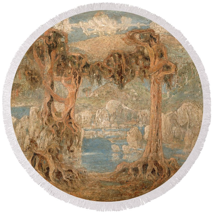 Lars Hertervig Round Beach Towel featuring the painting Landscape by Lars Hertervig