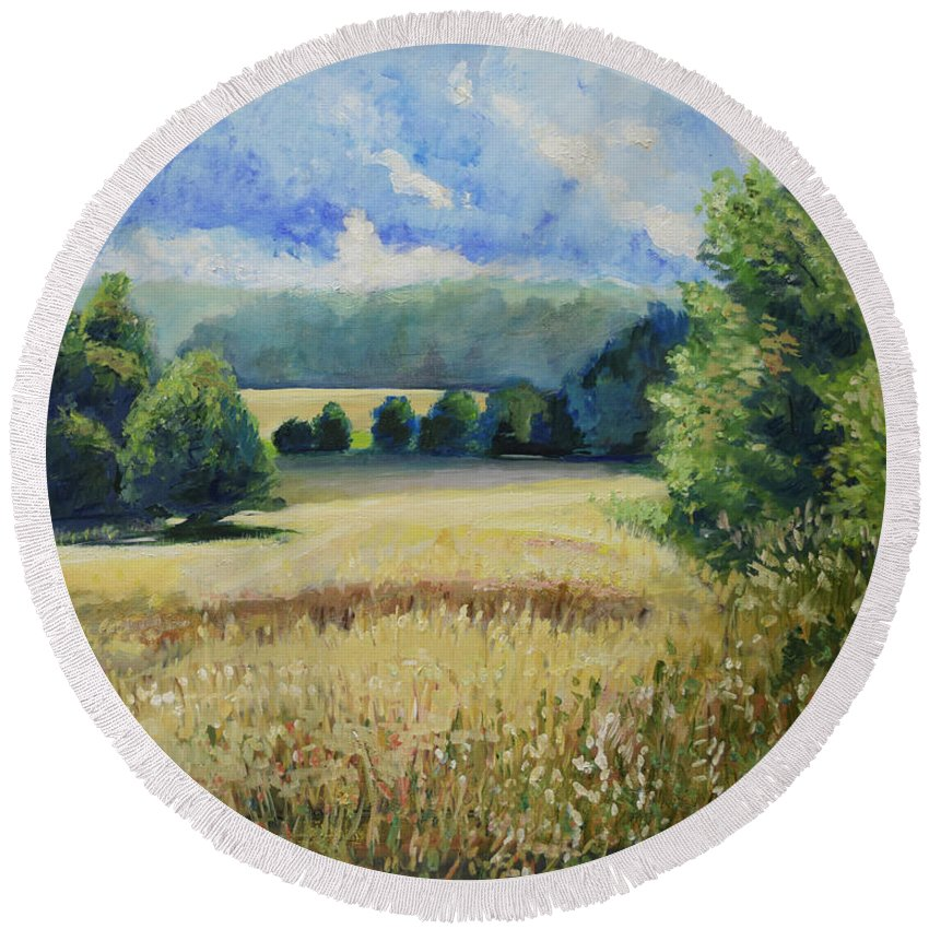 Landscape Round Beach Towel featuring the painting Landscape Near Russian Border by Raija Merila