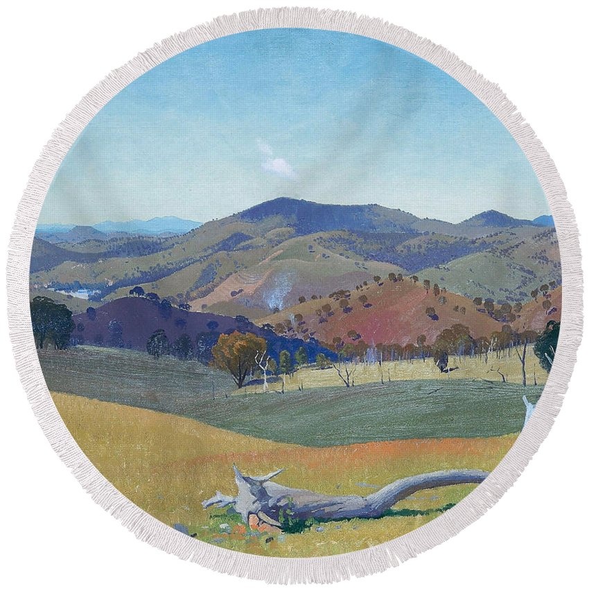 Elioth Gruner Round Beach Towel featuring the painting Landscape Near Yass by Elioth Gruner