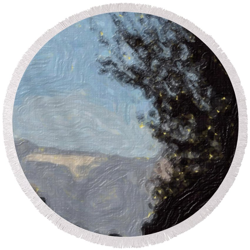 Landscape Round Beach Towel featuring the painting Landscape Of Fall by Sergey Bezhinets