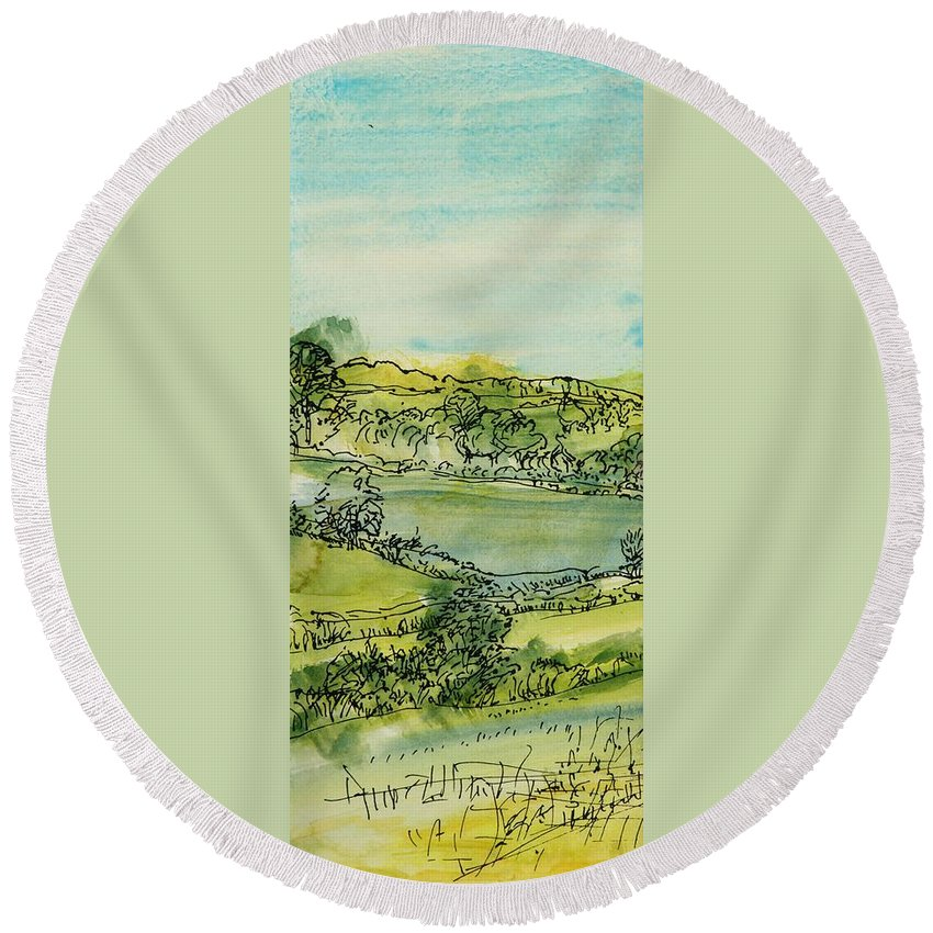 Rural Round Beach Towel featuring the photograph Landscape Pen & Ink With Wc On Paper by Brenda Brin Booker