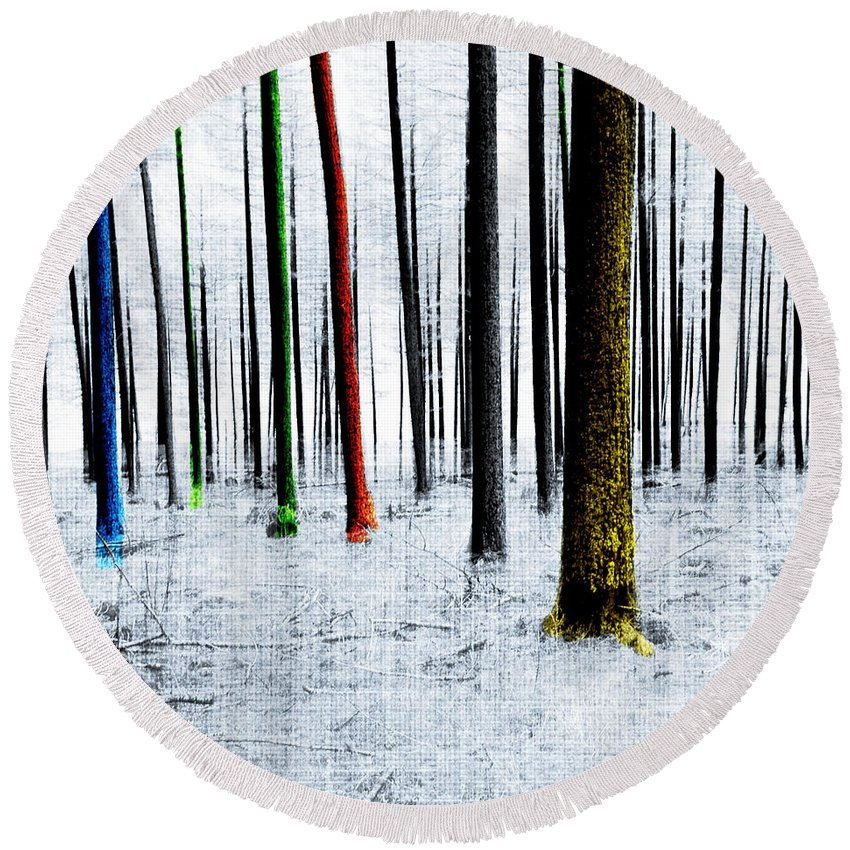 Landscape Round Beach Towel featuring the digital art Landscape Winter Forest Pine Trees by Mary Clanahan