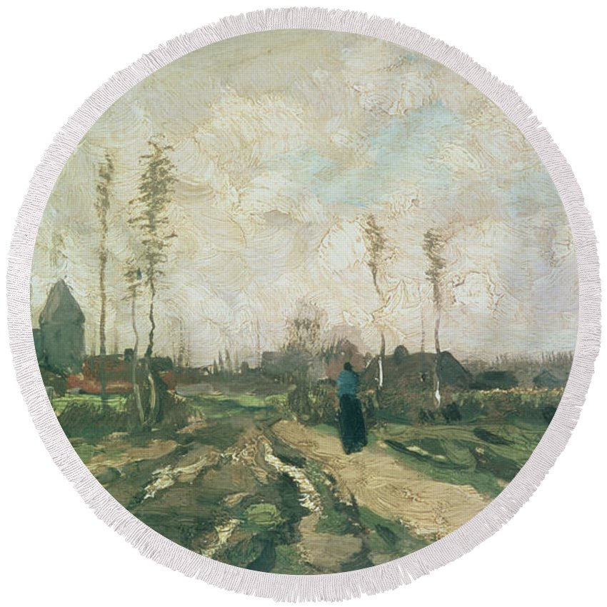 Post-impressionist Round Beach Towel featuring the painting Landscape With A Church And Houses by Vincent van Gogh
