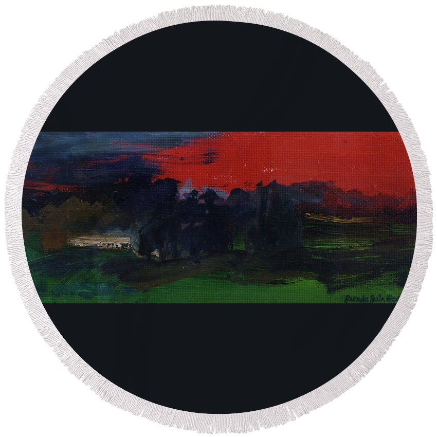 Dusk Round Beach Towel featuring the photograph Landscape With A Red Sky Oil On Canvas by Brenda Brin Booker