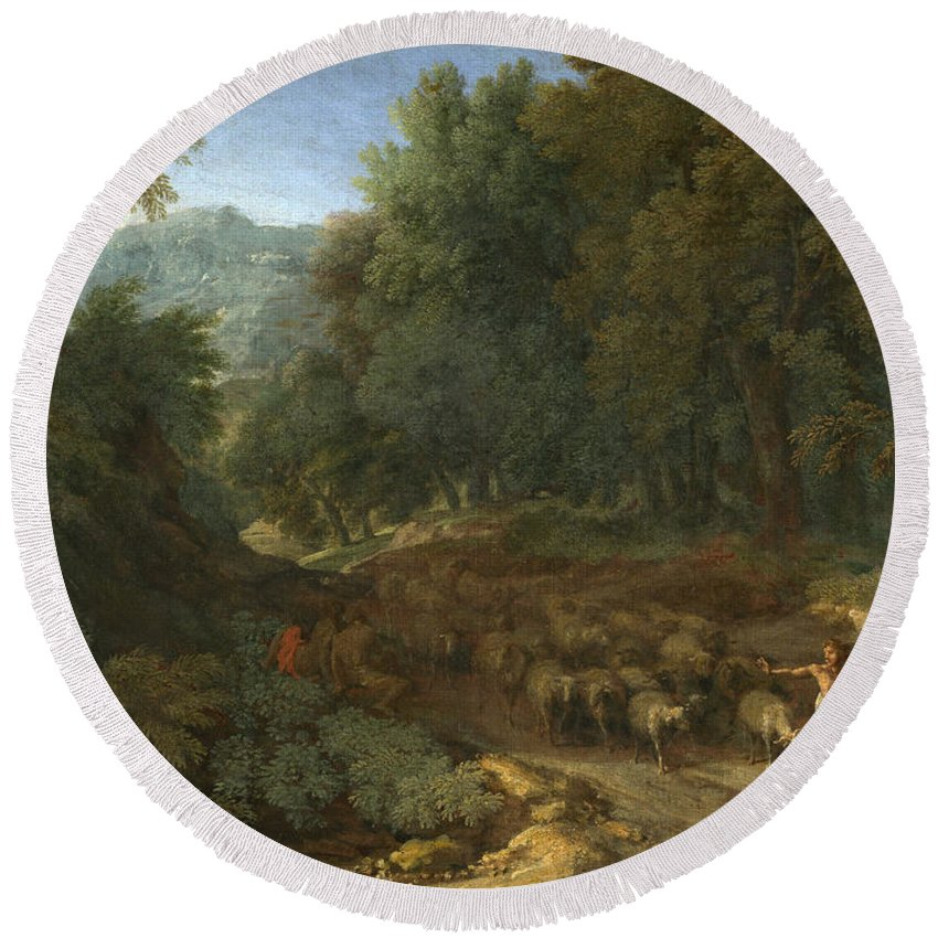 Gaspard Dughet Round Beach Towel featuring the painting Landscape With A Shepherd And His Flock by Gaspard Dughet