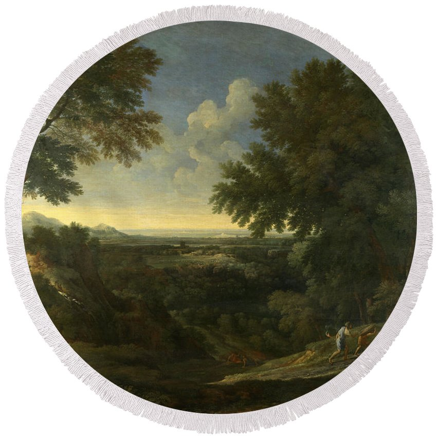 Gaspard Dughet Round Beach Towel featuring the painting Landscape With Abraham And Isaac by Gaspard Dughet