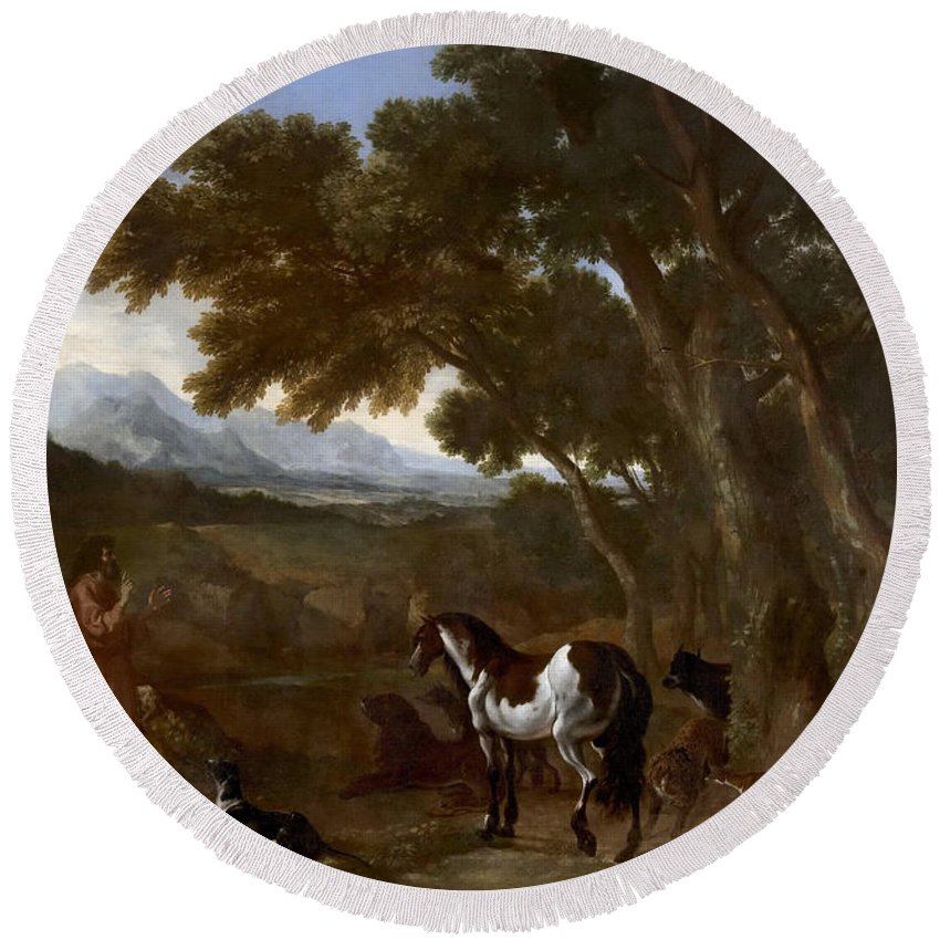 Gaspard Dughet Round Beach Towel featuring the painting Landscape With Hermit Preaching To Animals by Gaspard Dughet