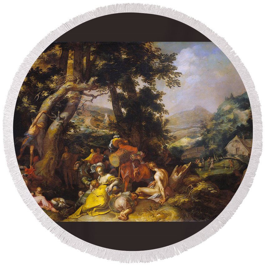 Abraham Bloemaert Round Beach Towel featuring the painting Landscape With The Ministry Of John The Baptist by Abraham Bloemaert