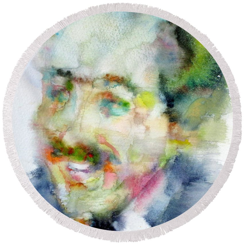 Langston Hughes Round Beach Towel featuring the painting Langston Hughes - Watercolor Portrait by Fabrizio Cassetta