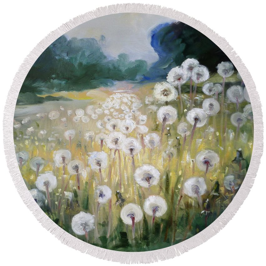 Dandelion Round Beach Towel featuring the painting Lanscape With Blow-balls by Irek Szelag