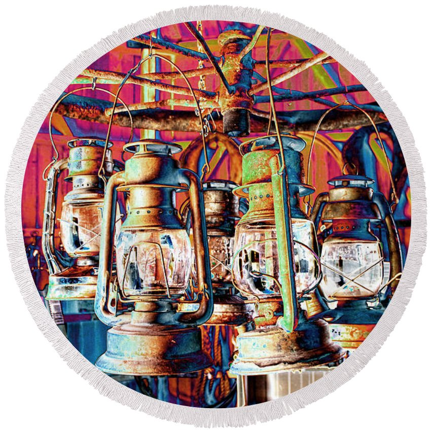 Chandelier Round Beach Towel featuring the photograph Lantern Chandelier 02 by Sylvia Thornton