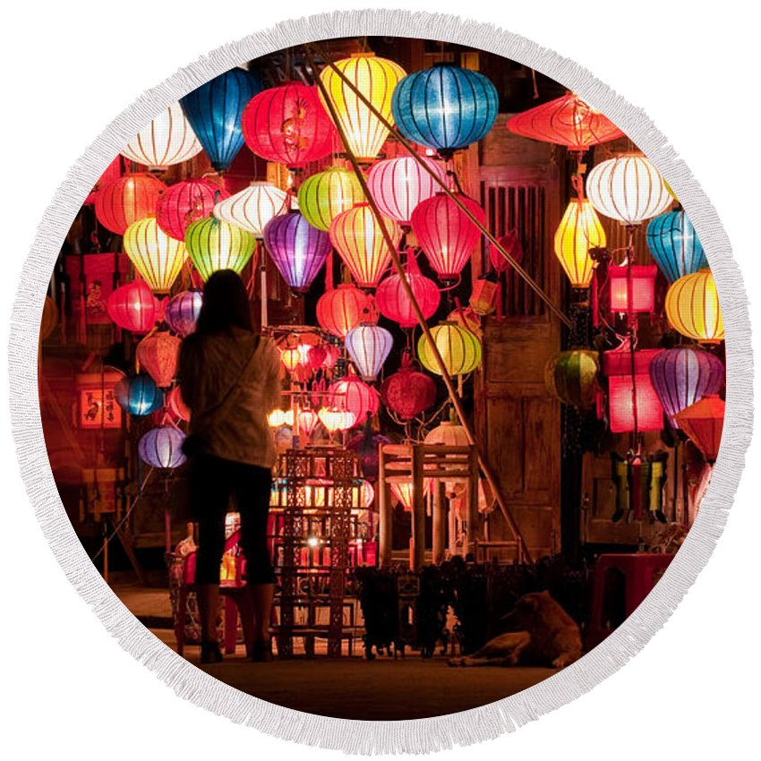 Vietnam Round Beach Towel featuring the photograph Lantern Stall 01 by Rick Piper Photography