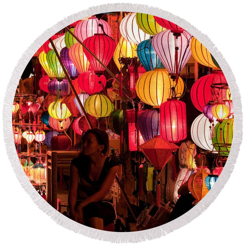 Vietnam Round Beach Towel featuring the photograph Lantern Stall 02 by Rick Piper Photography