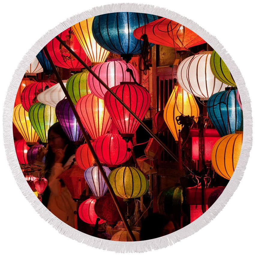 Vietnam Round Beach Towel featuring the photograph Lantern Stall 03 by Rick Piper Photography