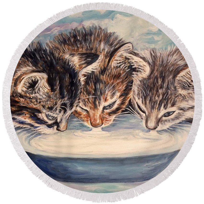 Kittens Round Beach Towel featuring the painting Lap Of Luxury Kittens by Linda Mears
