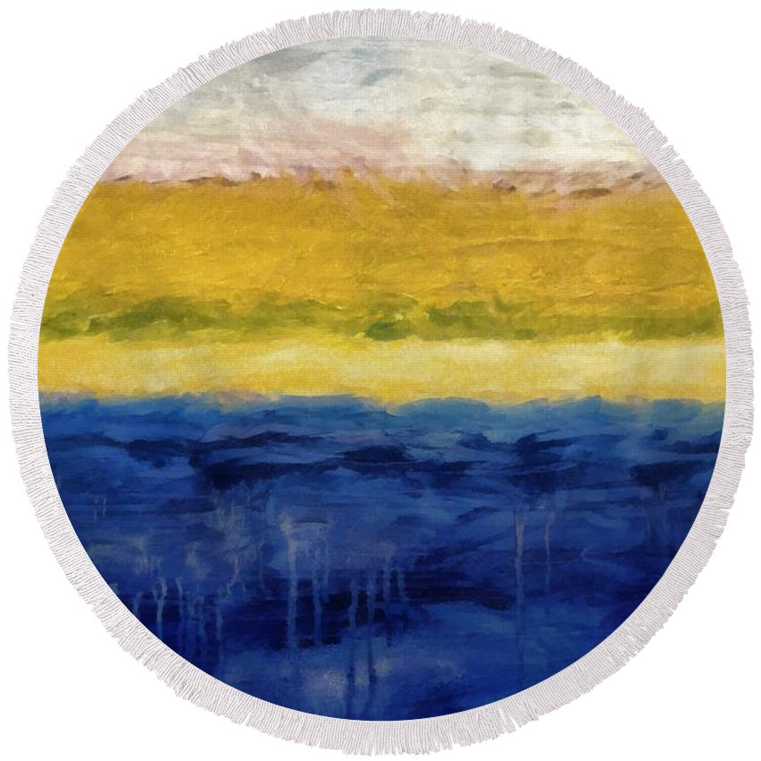 Oceanside Round Beach Towel featuring the painting Lapis And Gold Get Married by Michelle Calkins