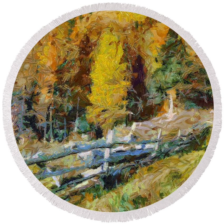 Landscapes Round Beach Towel featuring the painting Larches In Autumn by Dragica Micki Fortuna