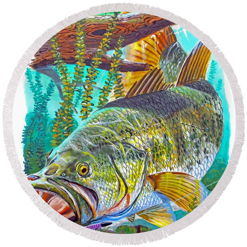 Gar Round Beach Towel featuring the painting Largemouth Bass by Carey Chen