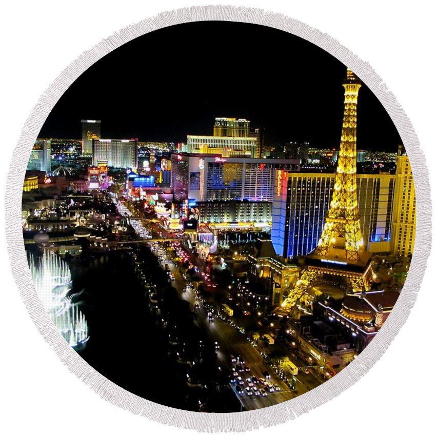 Tone Mapped Round Beach Towel featuring the photograph City - Las Vegas Nightlife by Kip Krause