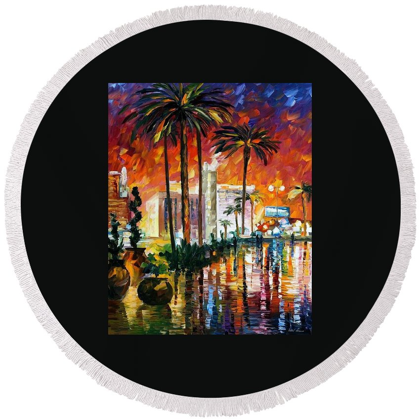 Oil Paintings Round Beach Towel featuring the painting Las Vegas - Palette Knife Oil Painting On Canvas By Leonid Afremov by Leonid Afremov