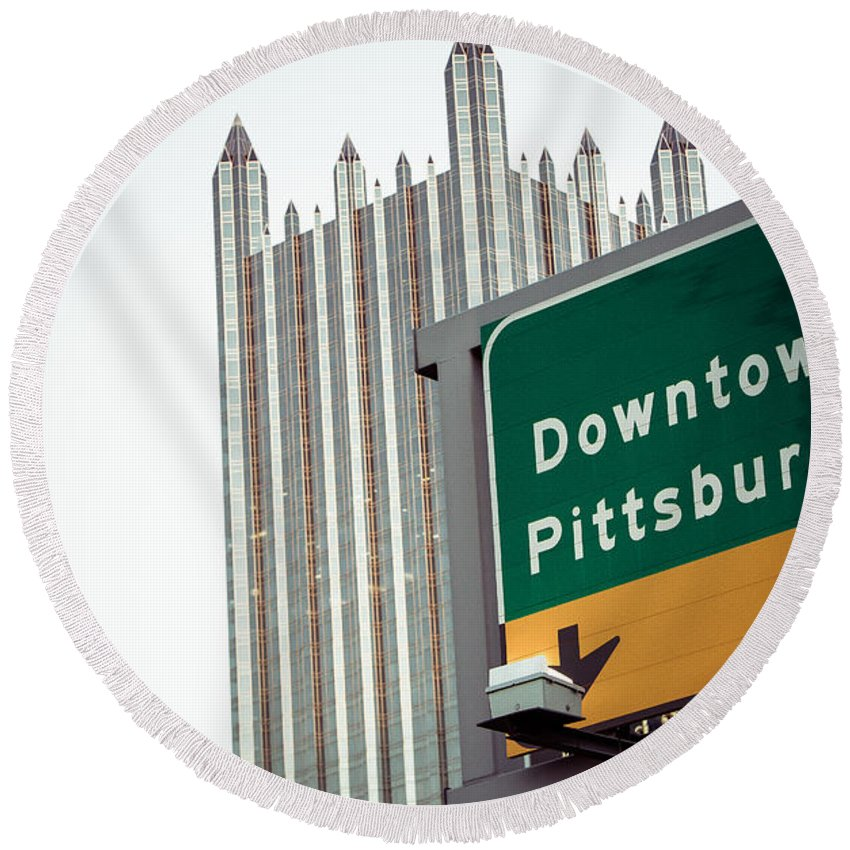 Pittsburgh Pa. Pennsylvania Downtown Ppg Skyline Taaffe Urban Green Yellow Steelers Pirates Round Beach Towel featuring the photograph Last Exit Pittsburgh by Jimmy Taaffe