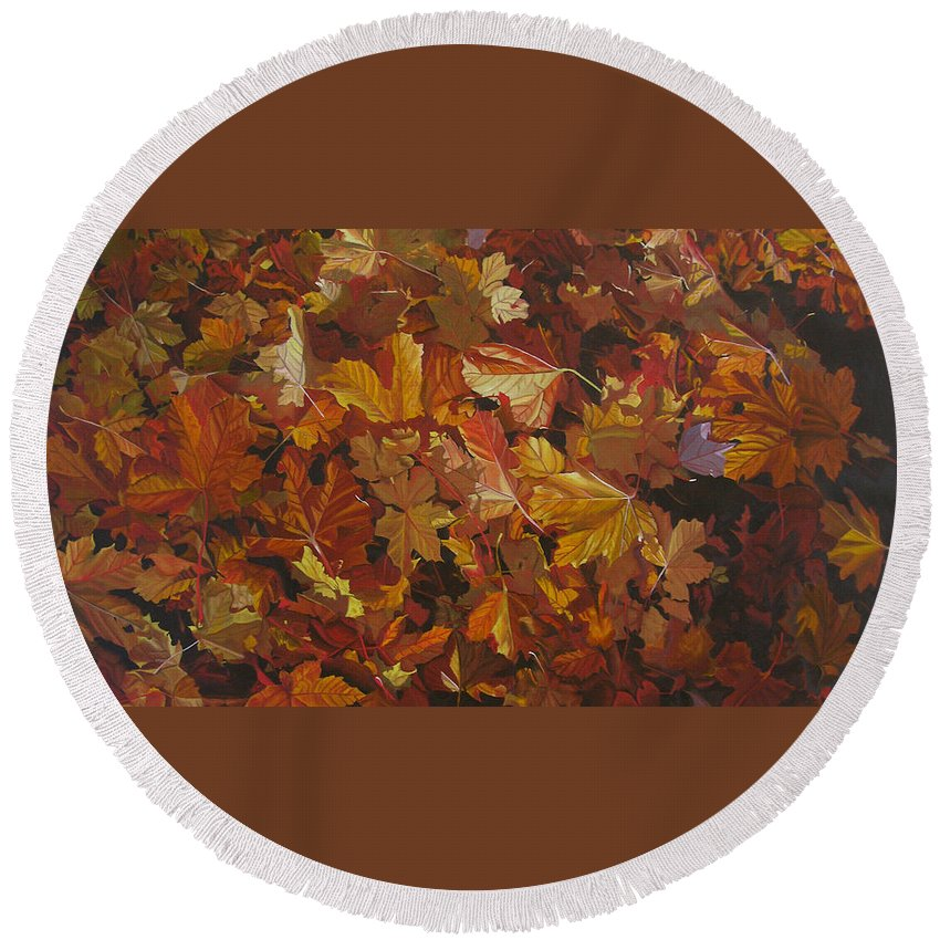 Fall Round Beach Towel featuring the painting Last Fall in Monroe by Thu Nguyen
