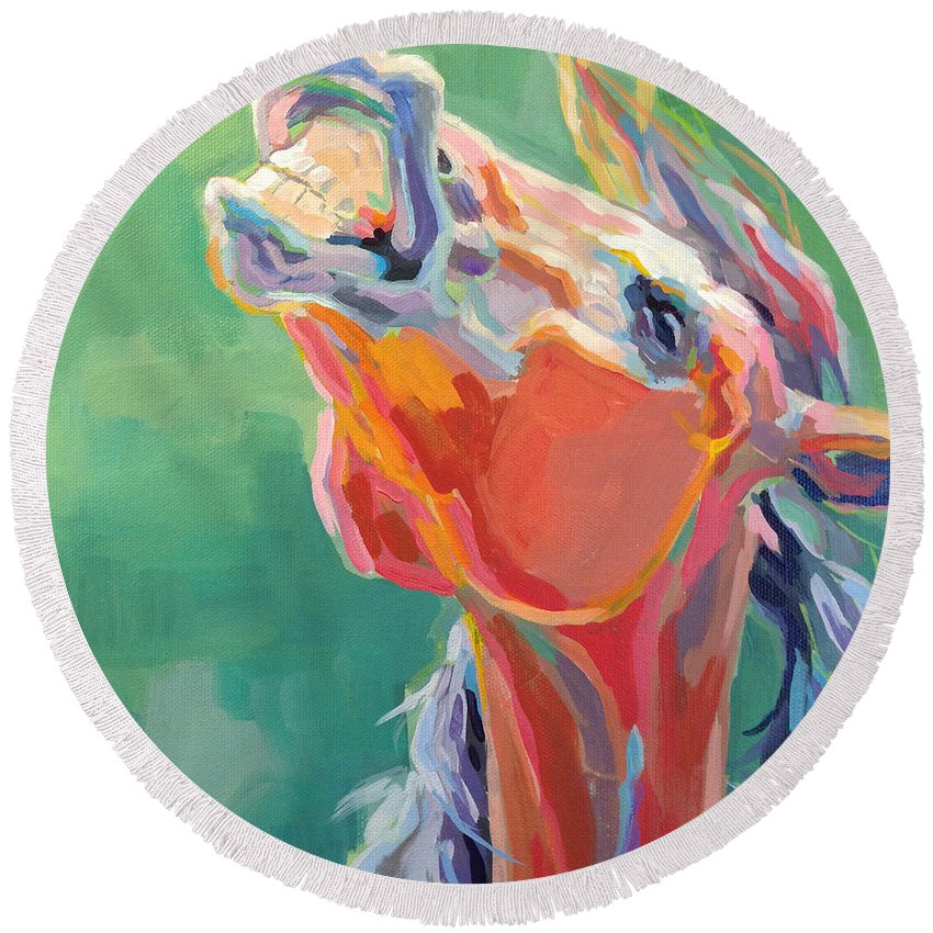 Thoroughbred Round Beach Towel featuring the painting Last Laugh by Kimberly Santini