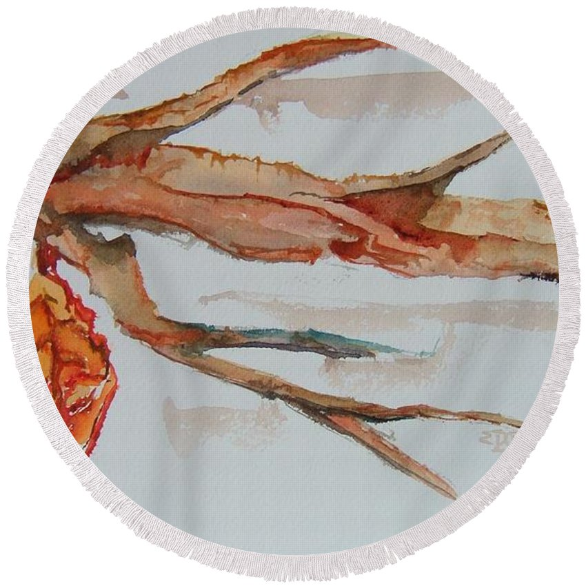 Leaf Round Beach Towel featuring the painting Last Leaf by Elaine Duras