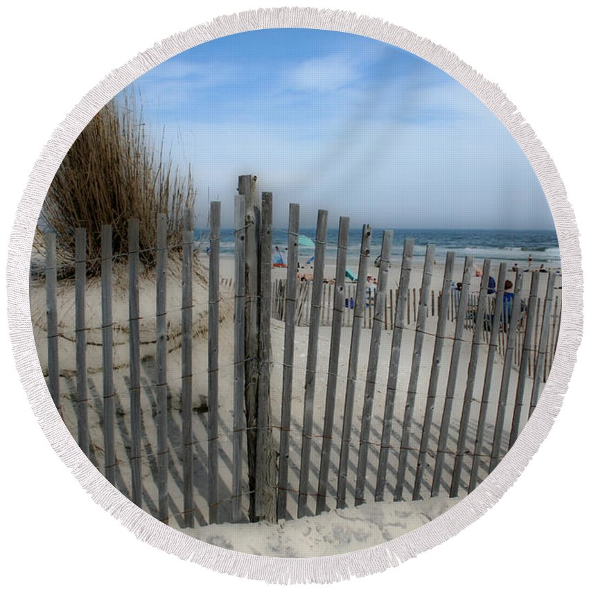 Landscapes Beach Art Sand Art Fence Wood Sky Blue Summertime Ocean Round Beach Towel featuring the photograph Last Summer by Linda Sannuti