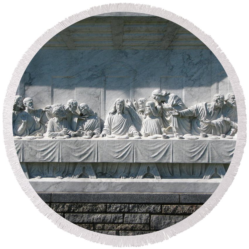 Art For The Wall...patzer Photography Round Beach Towel featuring the photograph Last Supper by Greg Patzer