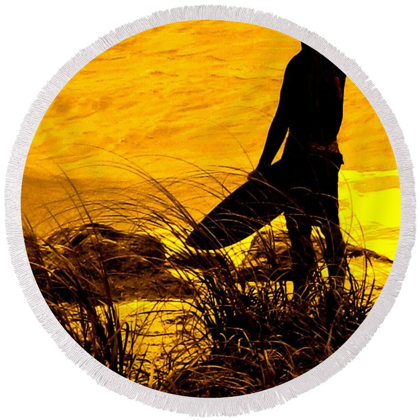 Florida Round Beach Towel featuring the photograph Last Surfer Standing by Ian MacDonald