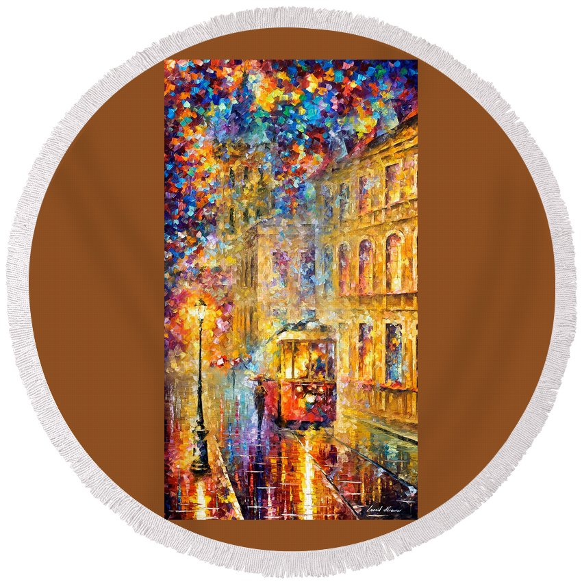 Art Gallery Round Beach Towel featuring the painting Last Trolley - Palette Knife Oil Painting On Canvas By Leonid Afremov by Leonid Afremov