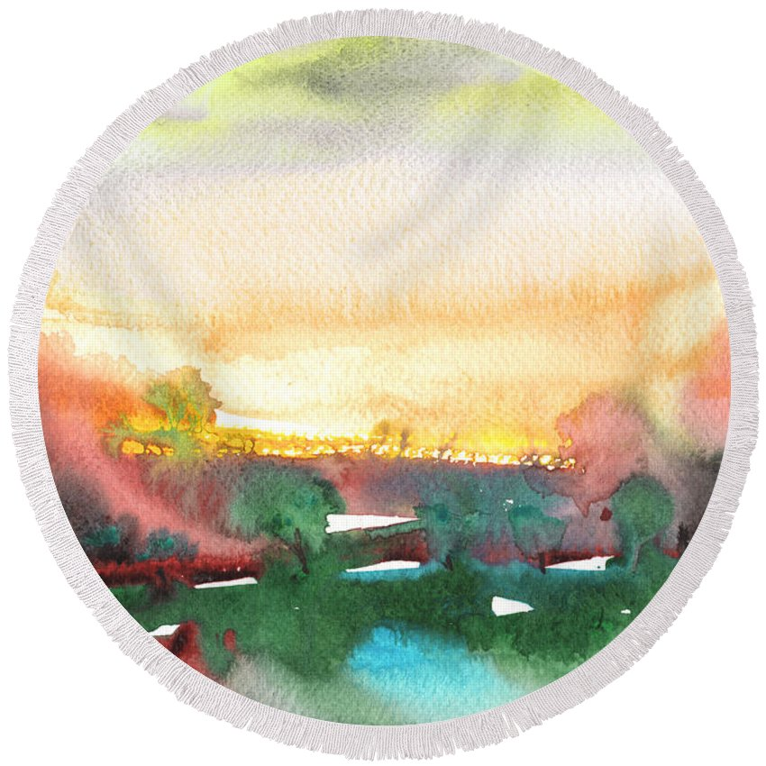 Landscapes Round Beach Towel featuring the painting Late Afternoon 59 by Miki De Goodaboom