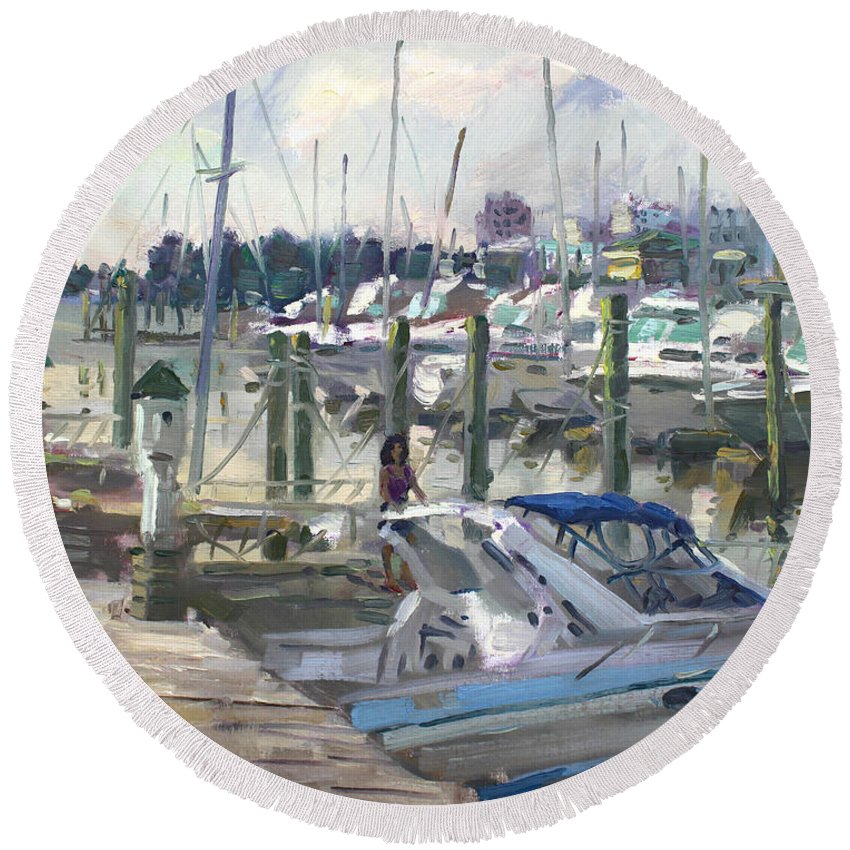 Virginia Harbor Round Beach Towel featuring the painting Late Afternoon In Virginia Harbor by Ylli Haruni