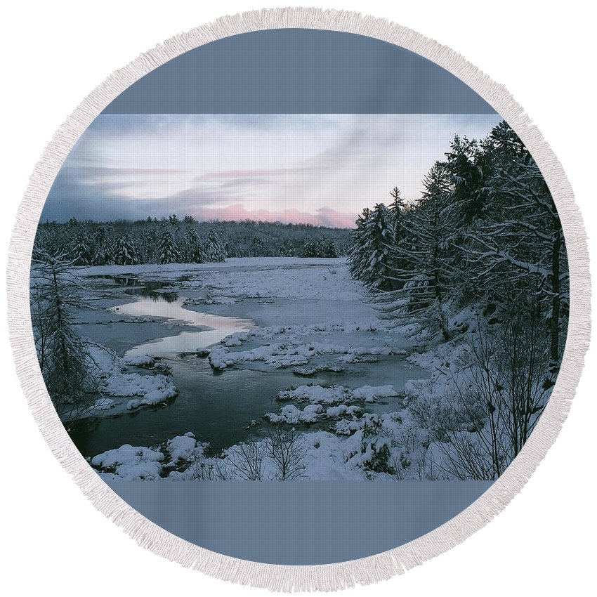 Landscape Round Beach Towel featuring the photograph Late Afternoon In Winter by David Porteus