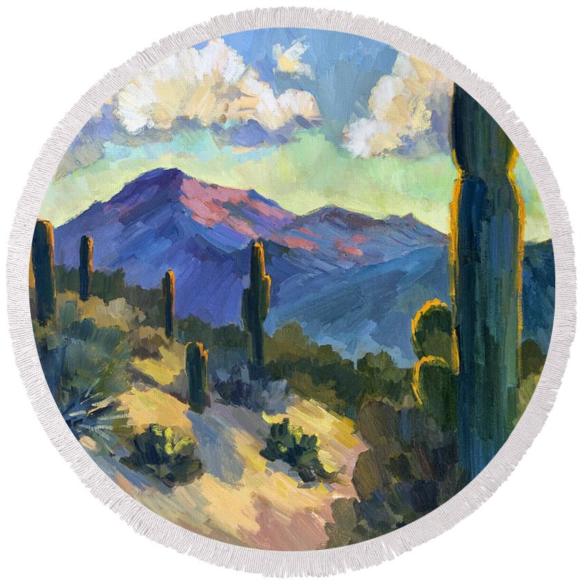 Late Afternoon Round Beach Towel featuring the painting Late Afternoon Tucson by Diane McClary