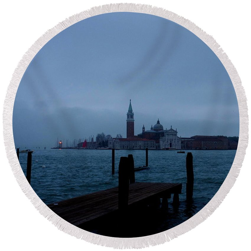 View From Venice Italy Round Beach Towel featuring the photograph Late Evening In Venice by Kitrina Arbuckle